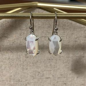 Kendra Scott Silver & White Pearl Drop Earrings